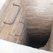 Descente du puis pour accéder au chateau par l'escalier secret