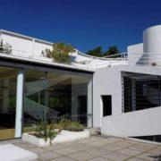 Le Corbusier, la villa Savoye, La Terrasse et les baies vitrées du salon