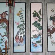 Panneaux de bois laqué représentant les 4 saisons